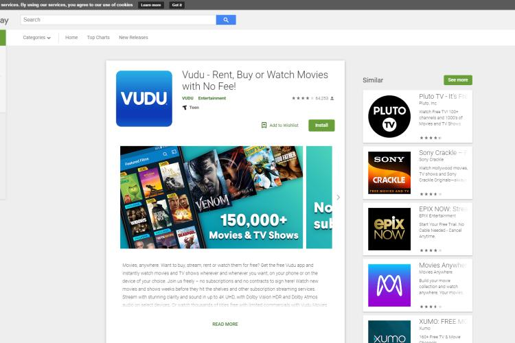 7 Best Free Movie Streaming Apps for Android 2019: Vudu