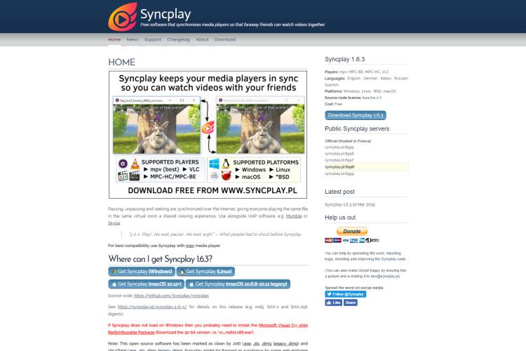 The Syncplay real-time video playbacksynchronizer