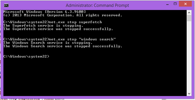 Command Prompt to Disable Superfetch in Windows 10