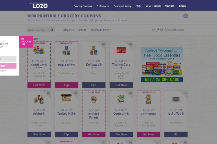 50+ Best Websites for Free Printable Grocery Coupons: Lozo